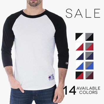 Champion 3/4 Baseball T-Shirt Mens Jersey Raglan Color Block Crew Tee T1397