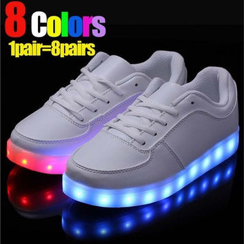8 Colors LED Luminous Shoes Men Women Unisex Couple Sneakers Fashion Casual Flat led Shoes For Adults USB Charging Lights Shoes [8096622727]