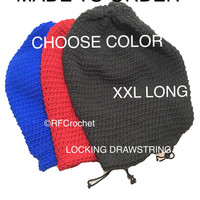 Drawstring Oversized Beanie for Dreadlocks Long Hair MADE TO ORDER Choose Color Crochet Hat Men Women Locs Secure Fit *Read Description*
