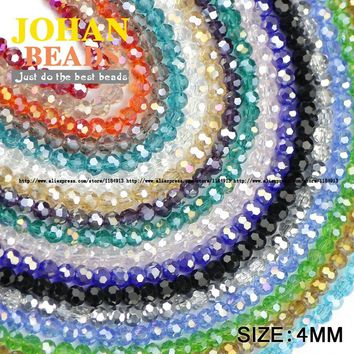 Football Faceted Austrian Crystal Beads 4mm 100pcs High Quality Round Sphere Crystal Loose Beads for Jewelry Making Bracelet DIY
