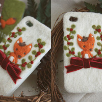Creative Wool Felt Fox iPhone 4s/ 5 Case Green/ Brown/ White Handmade Wool Phone Cozy Embroidered Woodland Bow Case Sweet Girlfriend Gift