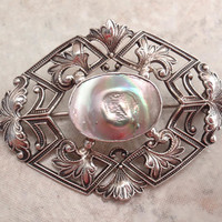 Blister Pearl Pin Brooch Foster & Bailey Art Deco Abalone Sterling Silver Vintage Estate CW0052