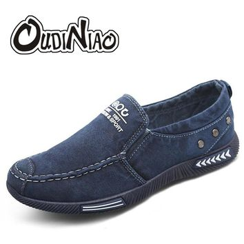 OUDINIAO Canvas Men Shoes Denim Sneakers Canvas Slip On Shoes Men Casual Shoes 2018 Plimsolls Breathable Male Footwear Spring