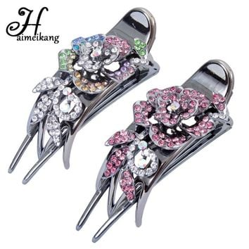 Haimeikang Vintage Hair Accessories Women Rhinestone Rose Flower Hairpin Headwear Fashion Hair Clip Barrettes Headdress
