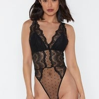 Naughty Girl Scallop Lace Bodysuit