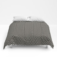 Black and White Hexagon Diamond Pattern Comforters by Sheila Wenzel