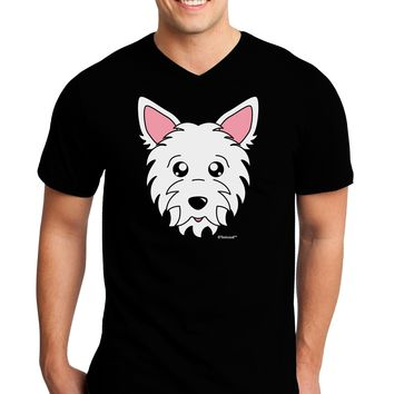 Cute West Highland White Terrier Westie Dog Adult Dark V-Neck T-Shirt by TooLoud