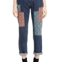 Y's by Yohji Yamamoto Archive Silk Patch Jeans | Nordstrom