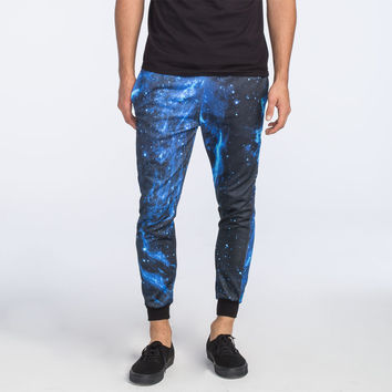ELWOOD Blue Galaxy Mens Jogger Pants | Joggers & Sweatpants