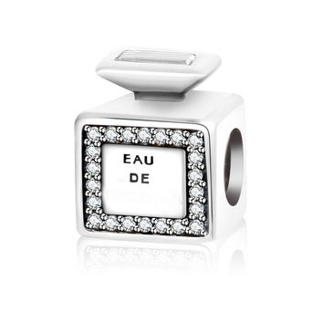 Fit Original Pandora Charm Bead Bracelet 925 Silver Signature Scent Charm With Clear CZ Diy perline Berloque 2016 Autumn