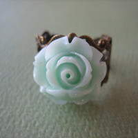 Petite Pale Mint Rose Flower Ring - Adjustable Antique Brass Ring - Free US Shipping - Jewelry by ZARDENIA