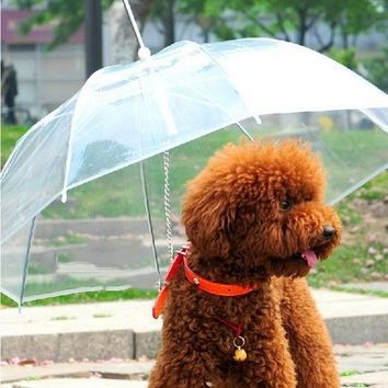 Pet Dog Umbrella Leash Pet Clean Transparent PE Dog Rain Gear for Dogs Pet Product Supply