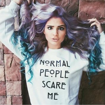 Normal people scare me Rock fashionable Letters Tee shirt Top White