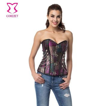 Purple Chain Rave Gothic Lingerie Sexy Espartilhos E Corpetes Corsets And Bustiers Steampunk Clothing Women Plus Size Corset 6XL