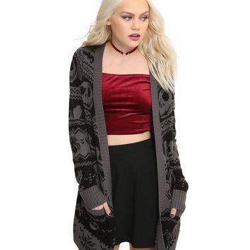 Licensed cool Disney The Nightmare Before Christmas Open Front Intarsia Cardigan Sweater XS-3X