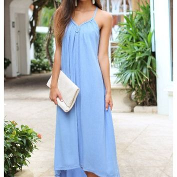 Goddess style braided trim spaghetti strap blue maxi | Piper | escloset.com