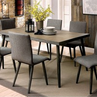 7 pc Vilhelm I collection mid century modern style gray finish wood dining table set