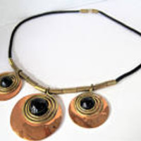 BOHO Disc Necklace, Copper Mixed Metal, Brass Copper Discs,  Black Lucite Center, 70's Boho Choker