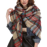 Plaid Blanket Scarf - Beige