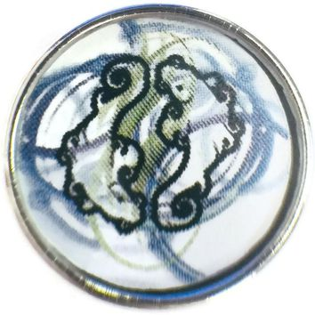Pisces Art Zodiac Sign Horoscope Symbol 18MM - 20MM Charm for Snap Jewelry New Item