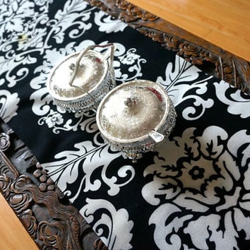 White and Black Velvet Damask Table Runner Velvet coffee Table runner Damask wedding table runner Velvet wedding Centrepiece