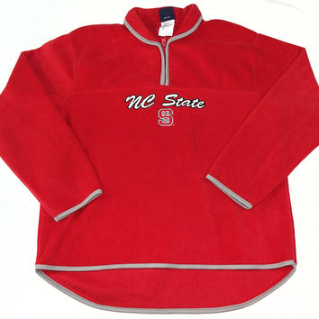 North Carolina State Wolfpack 1/4 Zip Collared Pullover Sweatshirt Womens Size L
