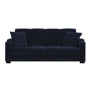 Handy Living Tevin Navy Blue Velvet Convert-a-Couch Storage Arm Futon Sofa | Overstock.com Shopping - The Best Deals on Futons