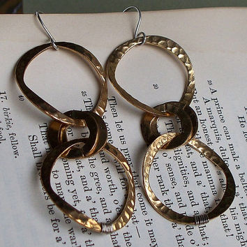 Golden Rings - Upcycled Gold Tone Hoop And Sterling Silver Mixed Metal Earrings SRAJD