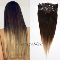 Three Colors Ombre hair extension, Three Colors Ombre Indian Remy clip in hair extension RHS203