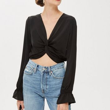 Satin Twist Crop Blouse
