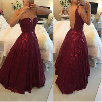 Burgundy Beaded Gowns Prom Dresses 2016 Plus Size vestidos de festa Sexy Crystals Backless African A Line Evening Party Long
