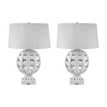 274/S2 Open Work Ceramic Globe Table Lamp In White