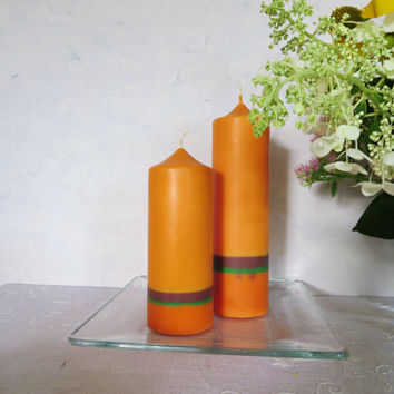 Bright orange soy pillar candles, warm autumn colors soy pillar candles, fall eco-friendly scented candles, holidays candles