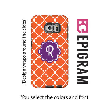Monogram Samsung Galaxy S6 Edge case, orange Samsung Galaxy S6 case, quarterfoil Galaxy case, 3D wrap around Galaxy case, Galaxy tough case