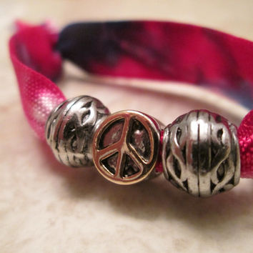 Tie dye fold over elastic, gold and silver peace sign bead, Red, white, blue, beaded hair tie, hair tie beads, spiritual, peace bracelet