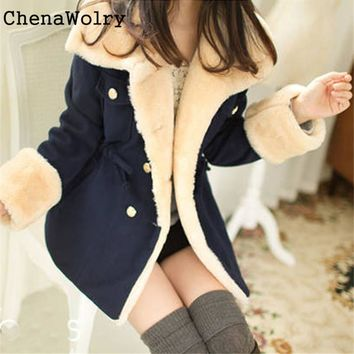 Winter Warm Casual 2017 Slim Fit Hot Sales Attractive Luxury Double-Breasted Wool Blend Jacket Women Coat  Nov 24