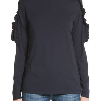 Burberry Uima Ruffle Cotton Top | Nordstrom
