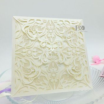 408PC  Lace Envelope Delicate Carved Flowers Wedding Invitations Card Business Party casamento Favors Wedding Decor