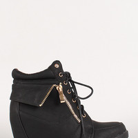 Lace Up Round Toe Wedge Sneaker