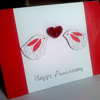 Embossed die cut love birds Happy Anniversary card with quilled heart