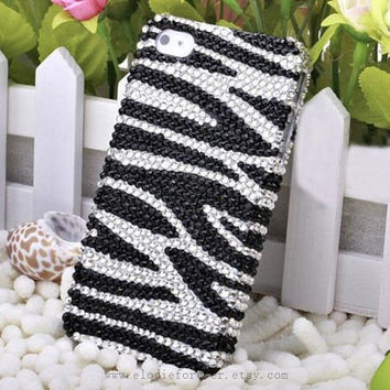 Bling Bling Full Diamonds Rhinestone Crystals Swarovski  Black and White Zebra Stripe iPhone Case For iPhone 4 4S iPhone 5 Screen Protect