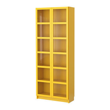 BILLY Bookcase with glass doors - yellow - IKEA