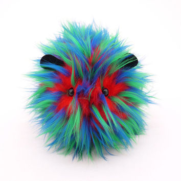 Zink the Blue Green and Red Spikey Faux Fur Stuffed Guinea Pig Plush Toy - 6x10 Inches Large Size