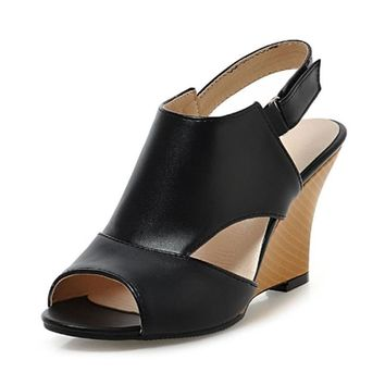 Plus size 34-43 Women Sandals Sexy High Heel Wedges Cutout Summer Shoes Sweet Peep Toe