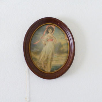 Pinkie Portrait, framed portrait, oval frame, thomas lawrence, famous painting, home decor, vintage decor, wedding present, housewarming