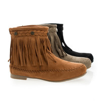 Starcy93 Moccasin Braid Fringe Round Toe Flat Ankle Boots