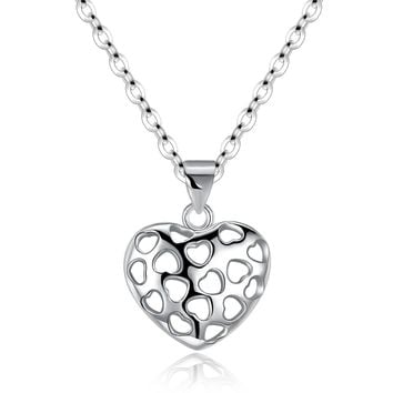 Sterling Silver Filigree Heart Shaped Necklace