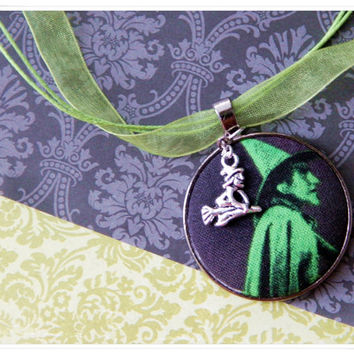Green Wizard of Oz Wicked Witch of the West Fabric Button Charm Necklace (Spooky, Haunted Oz Fabric)