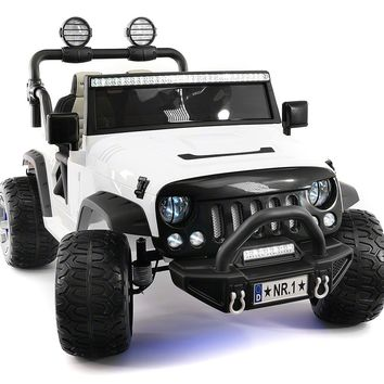 Explorer 12V Kids Ride-On Car Truck with R/C Parental Remote | White