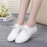 Casual Vintage Leather Flats Shoes [6048679169]